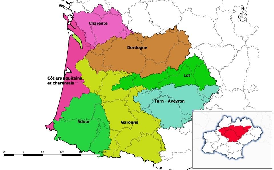 Localisation géographique du bassin Tarn Aveyron