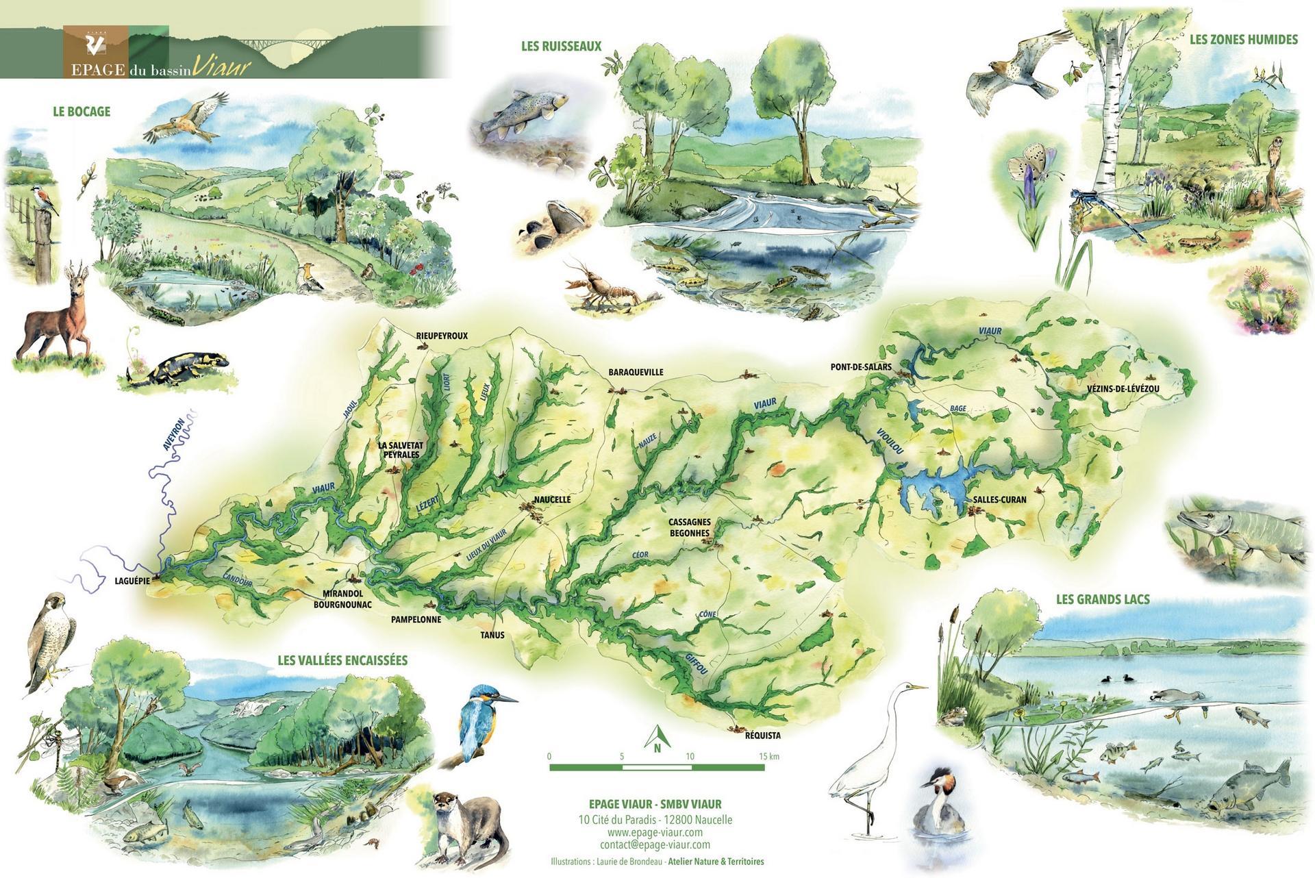 Aquarelle du Bassin du Viaur ANT - Atelier Nature & Territoires