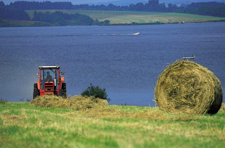 Activité agricole en bordure du lac de Pareloup