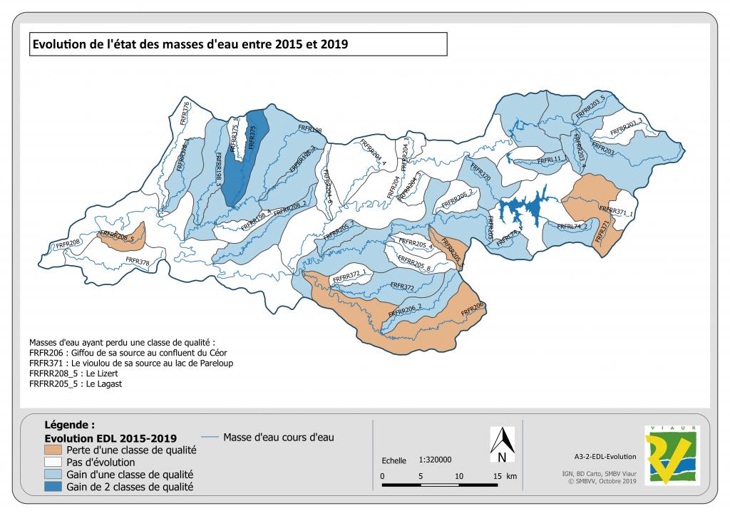 Évolution de l'état des masses d'eau entre 2015 et 2019