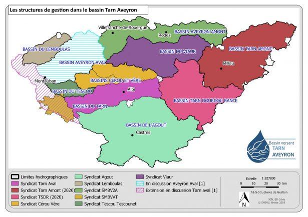 Les structures de gestion du bassin Tarn Aveyron